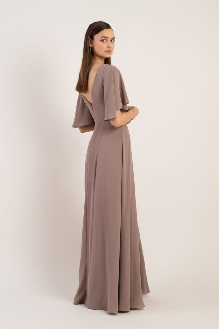 wrap style bridesmaid dress with short sleeves
