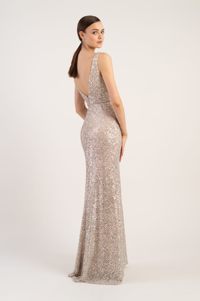 Silver nude champagne sequin gown