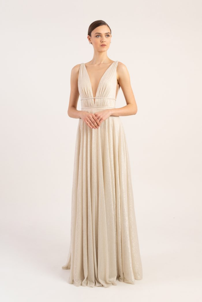 Metallic gold knit v neck gown