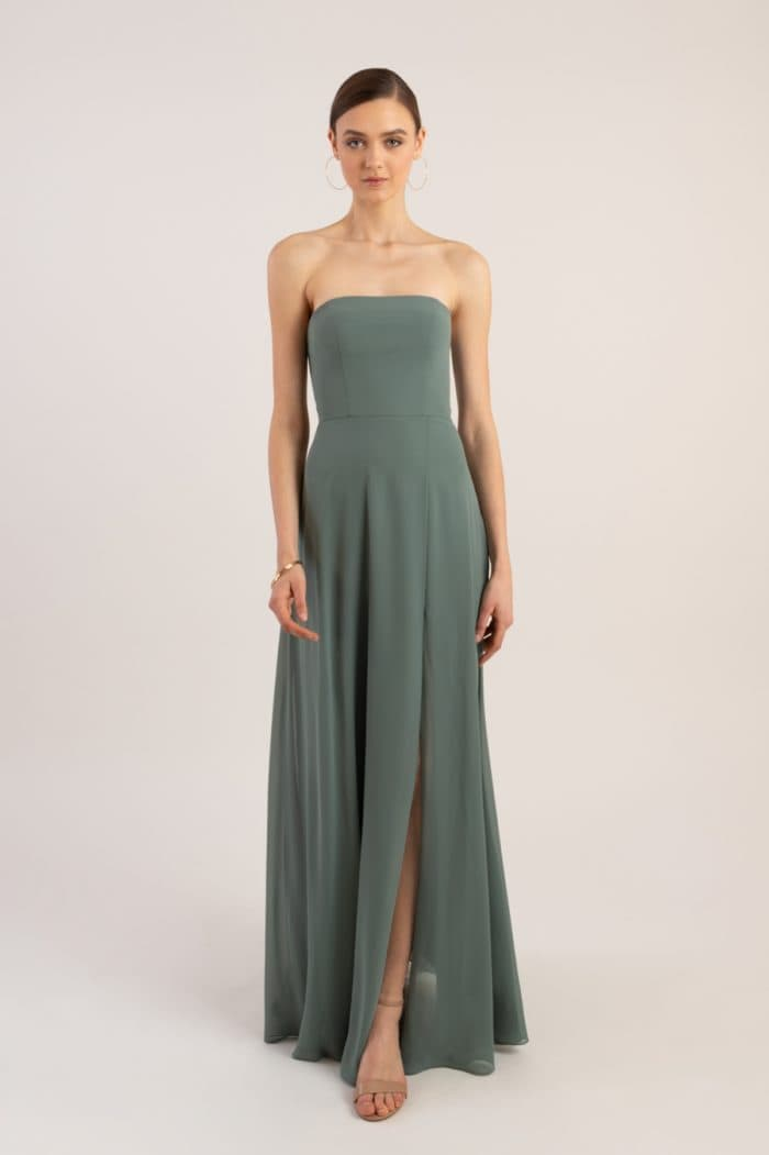 Modern strapless bridesmaid dress