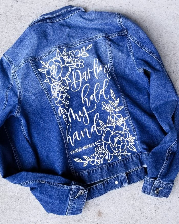 Jean jacket with handpainted quote for a wedding