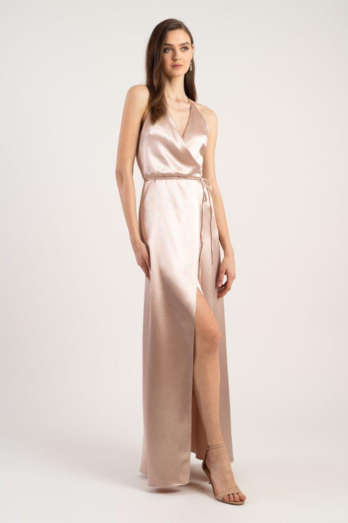 Blush satin wrap gown