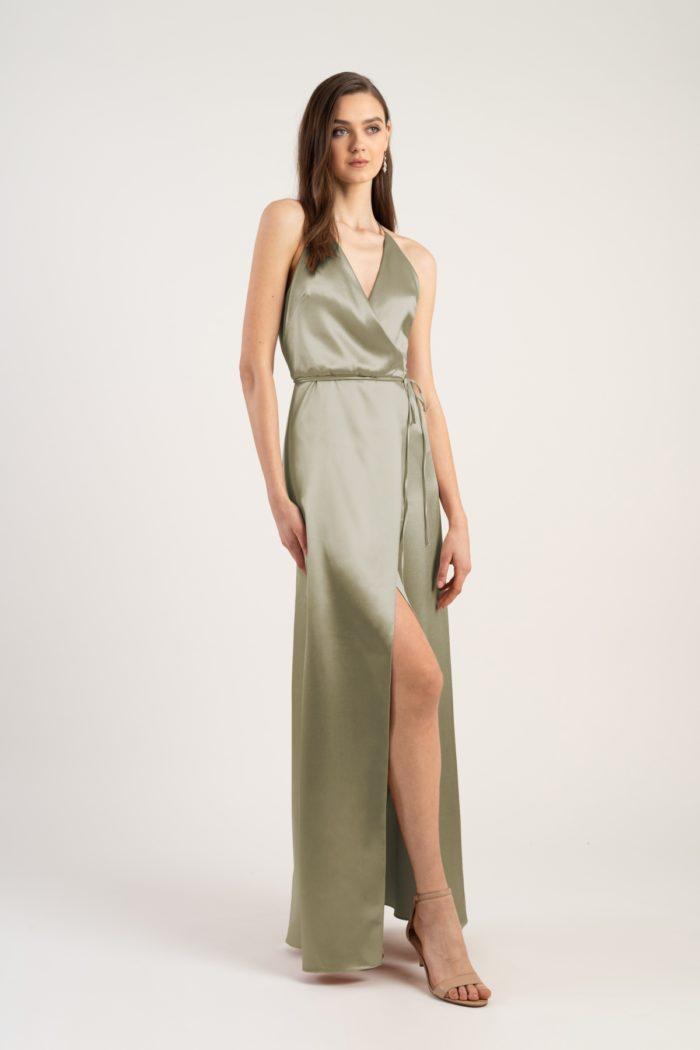 Pale green datin bridesmaid dress