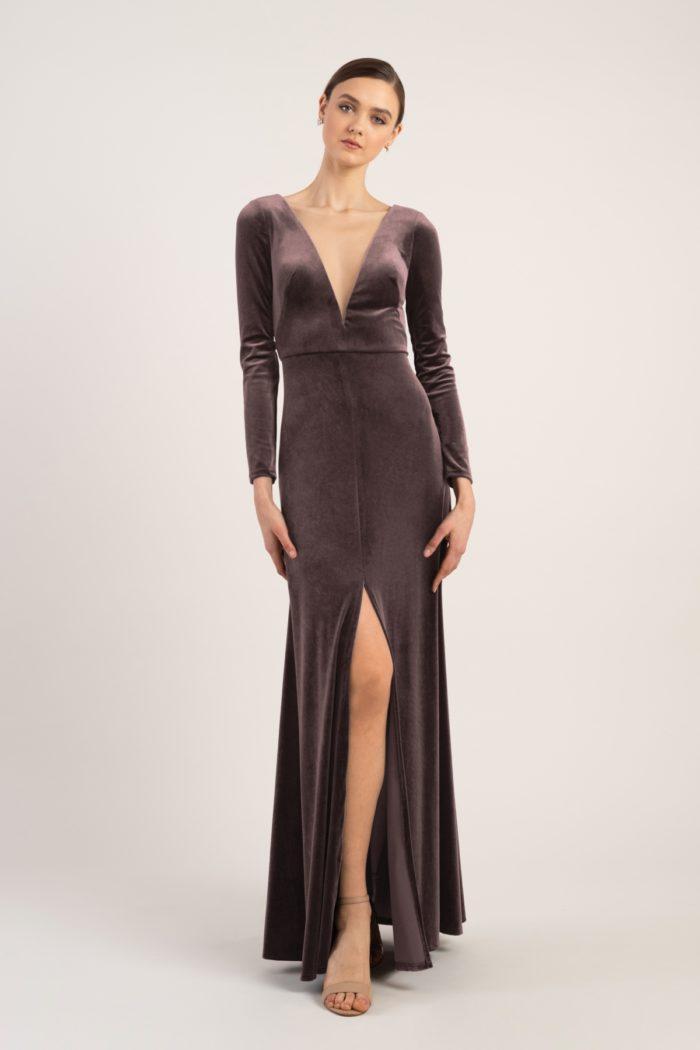 Soft purple velvet gown