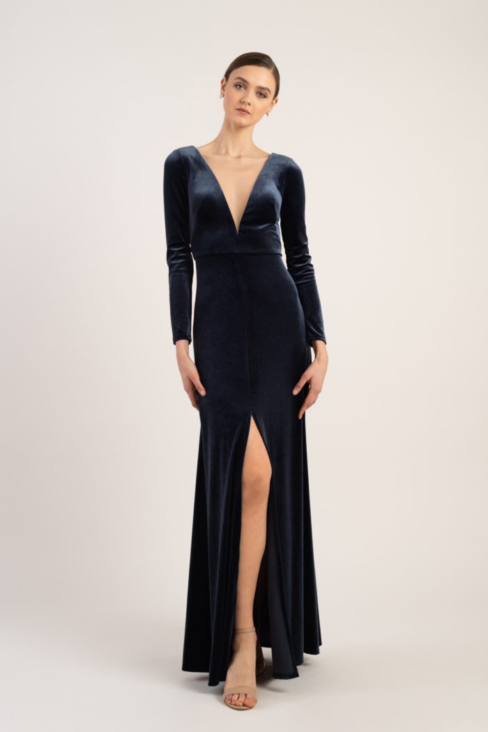 Long sleeve velvet gown with plunge neckline