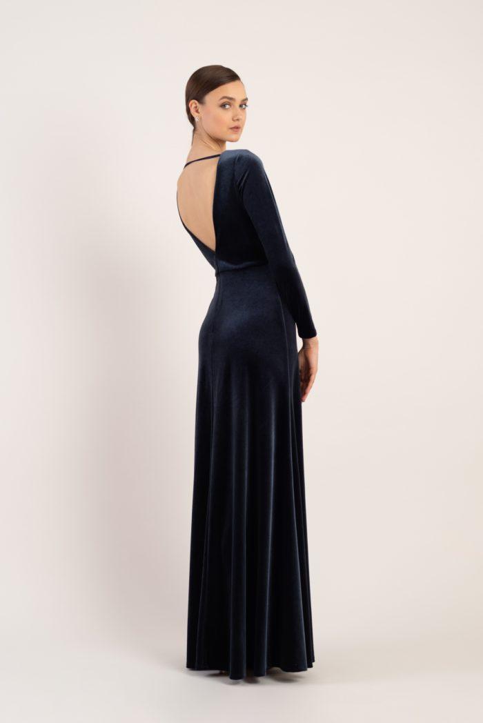 Long sleeve velvet bridesmaid dress