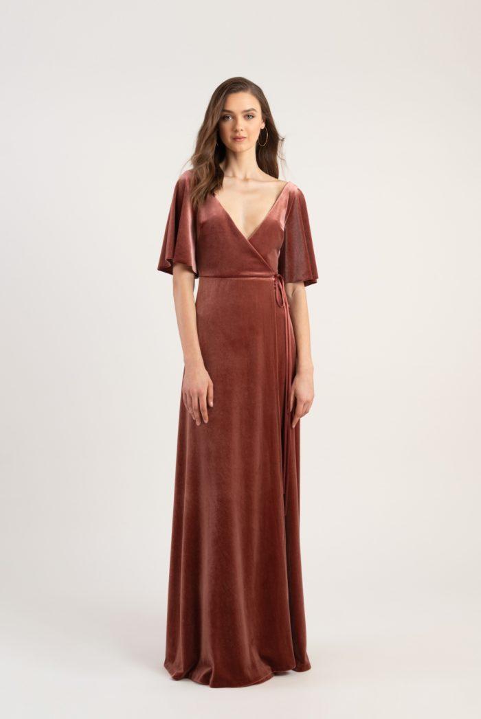 Velvet wrap dress with flutter sleeves