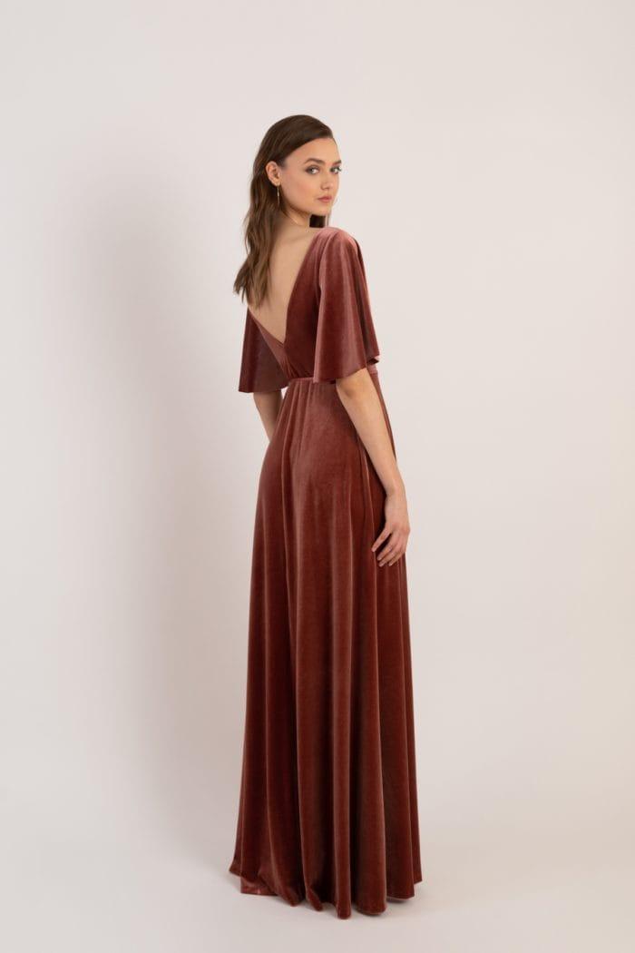 Velvet flutter sleeve wrap bridesmaid dress