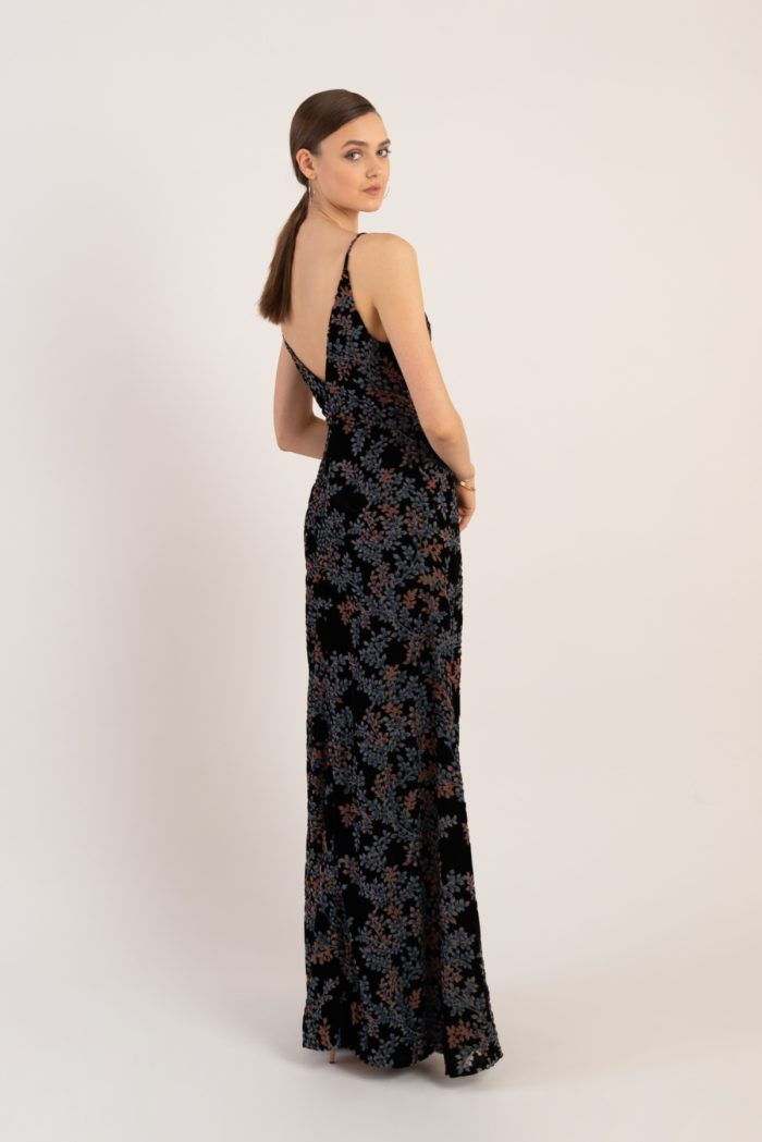 Black floral velvet wrap dress for bridesmaid