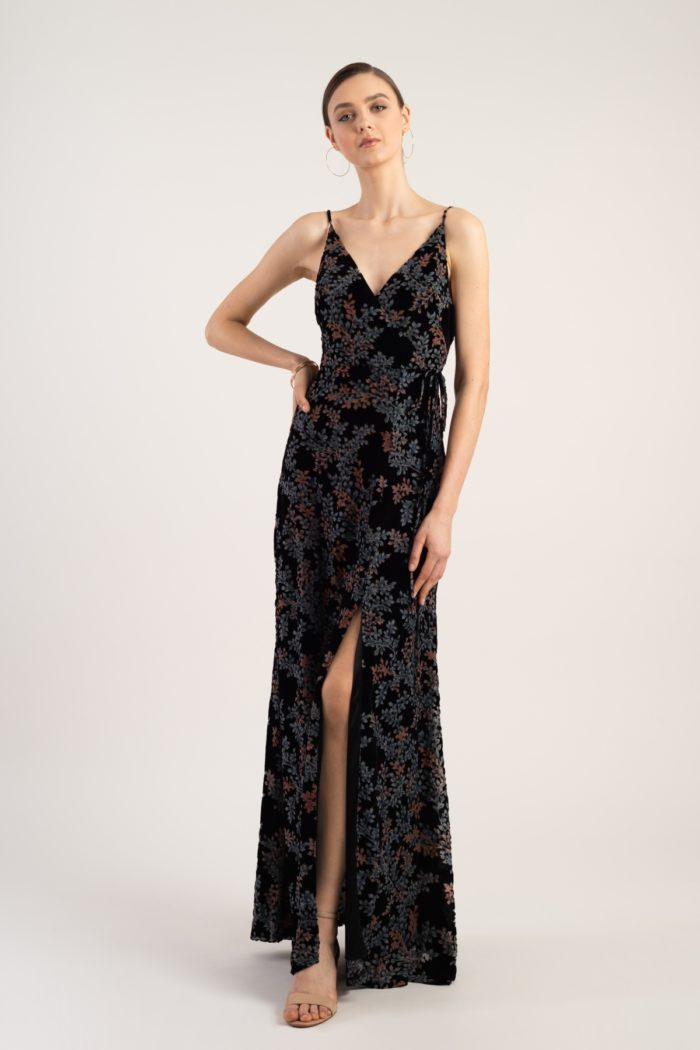 Velvet burnout wrap dress for bridesmaids