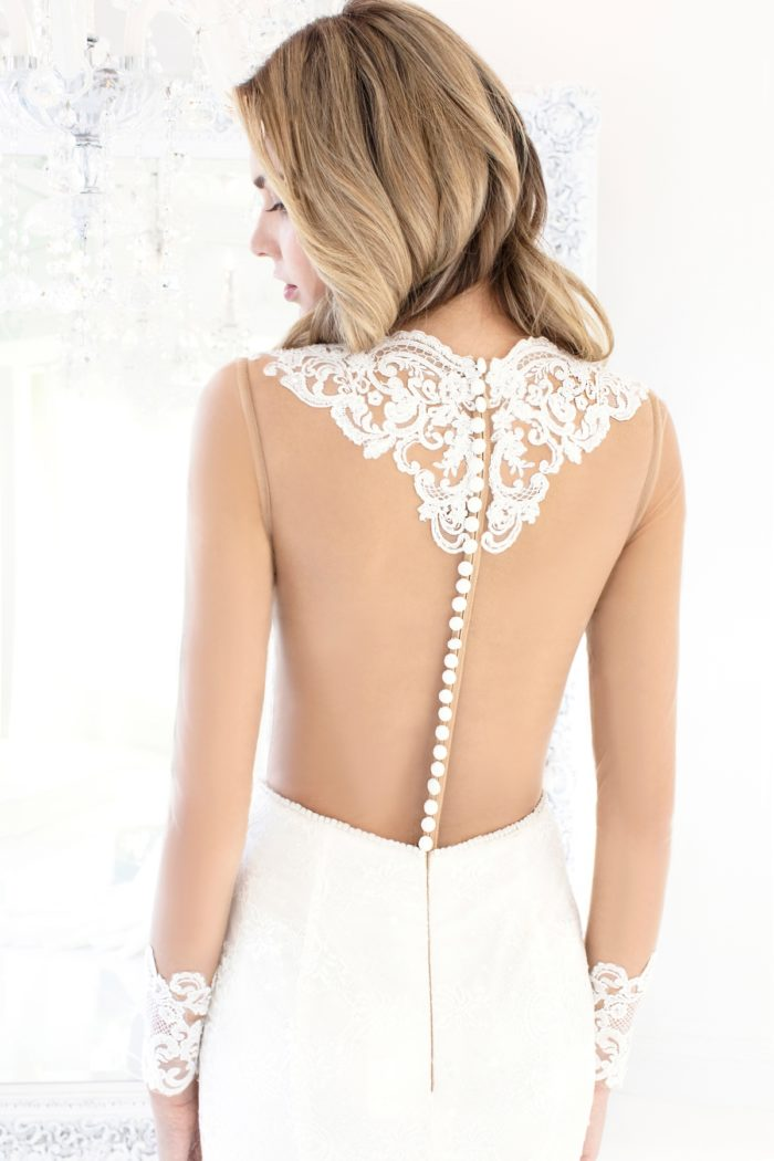 Lace back wedding dress with buttons