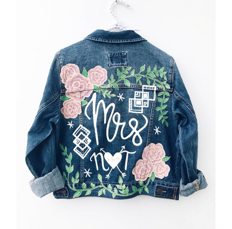 colorful floral handpainted jean jacket for a wedding