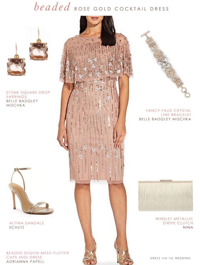 Rose gold sequin cocktail dress