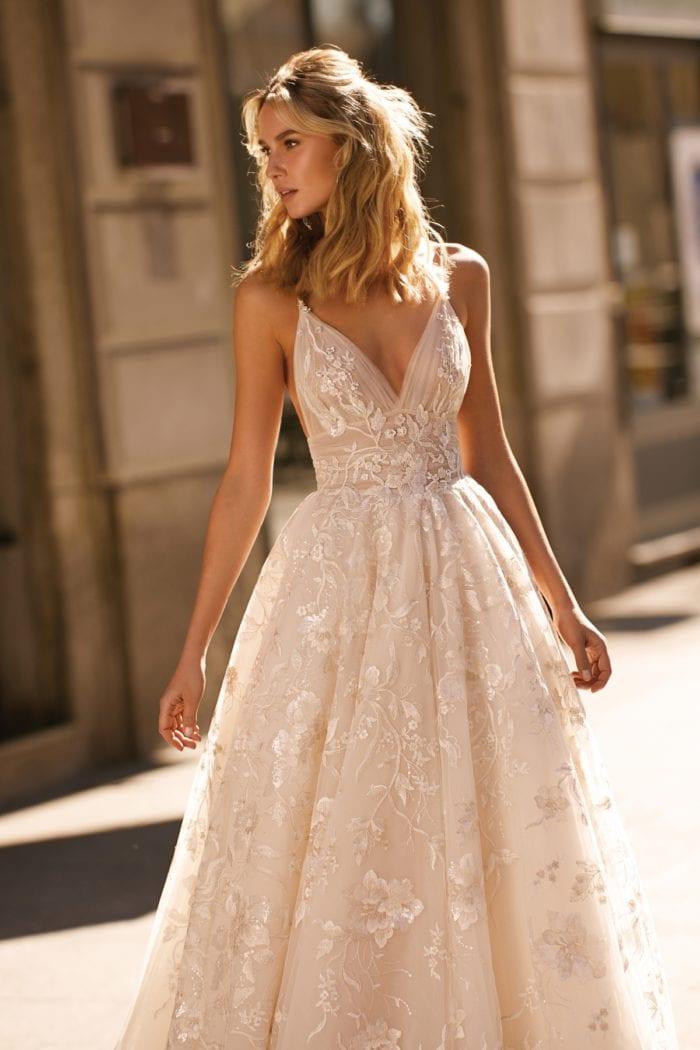 Spaghetti strap Berta 2020 wedding gown