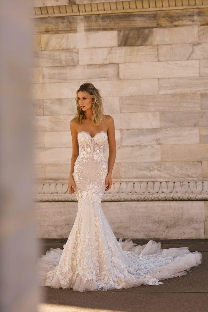Corset style strapless BERTA wedding dress with trumpet hemline