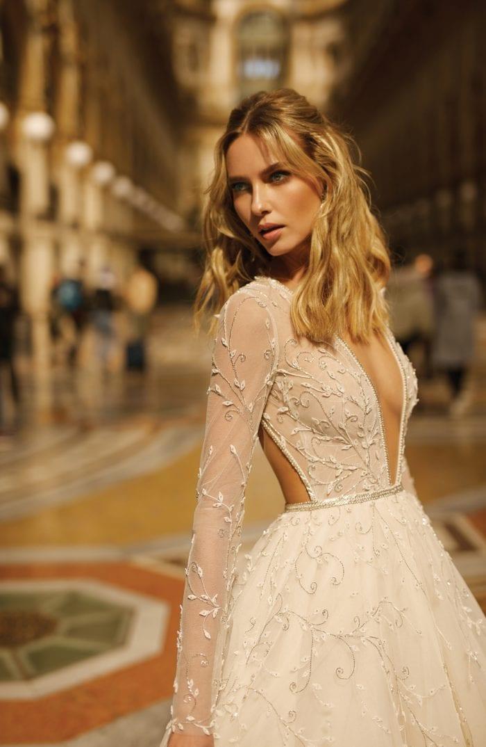 Long sleeved open back wedding dress BERTA
