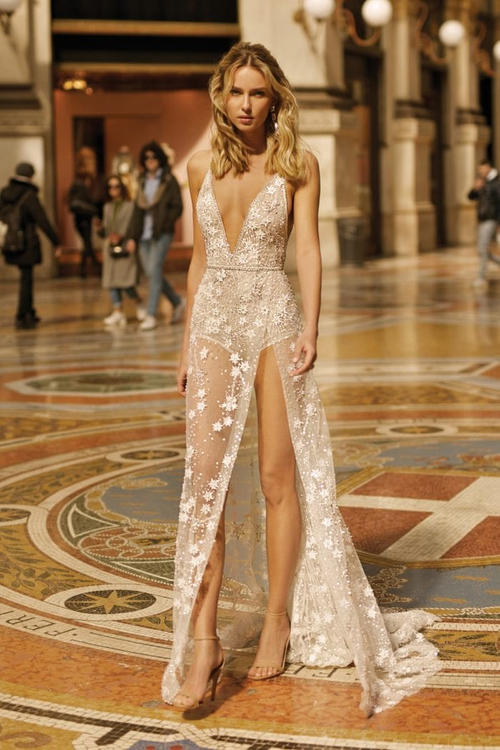 Sheer bridal gown by BERTA with leg slit