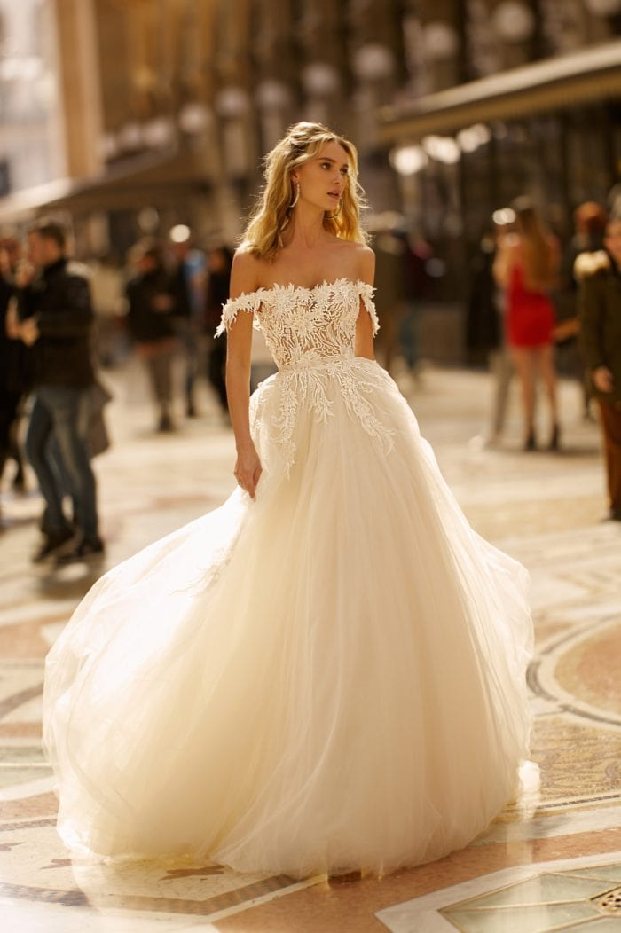 off the shoulder tulle ballgown by BERTA