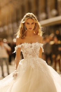 Lace off the shoulder bridal gown by BERTA