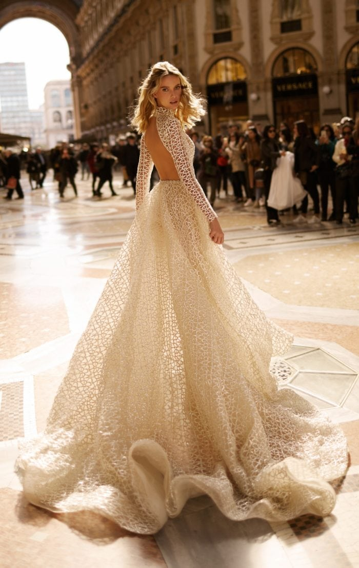 Open back long sleeve bridal gown by BERTA
