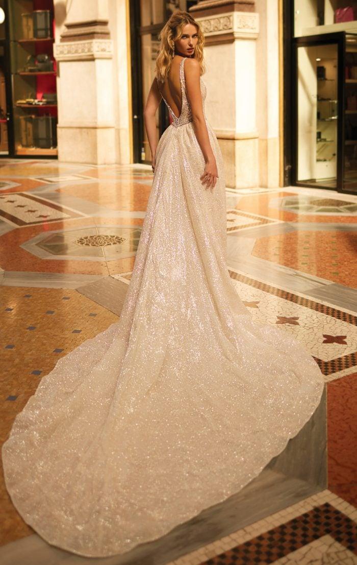 Wedding dress with dramatic train