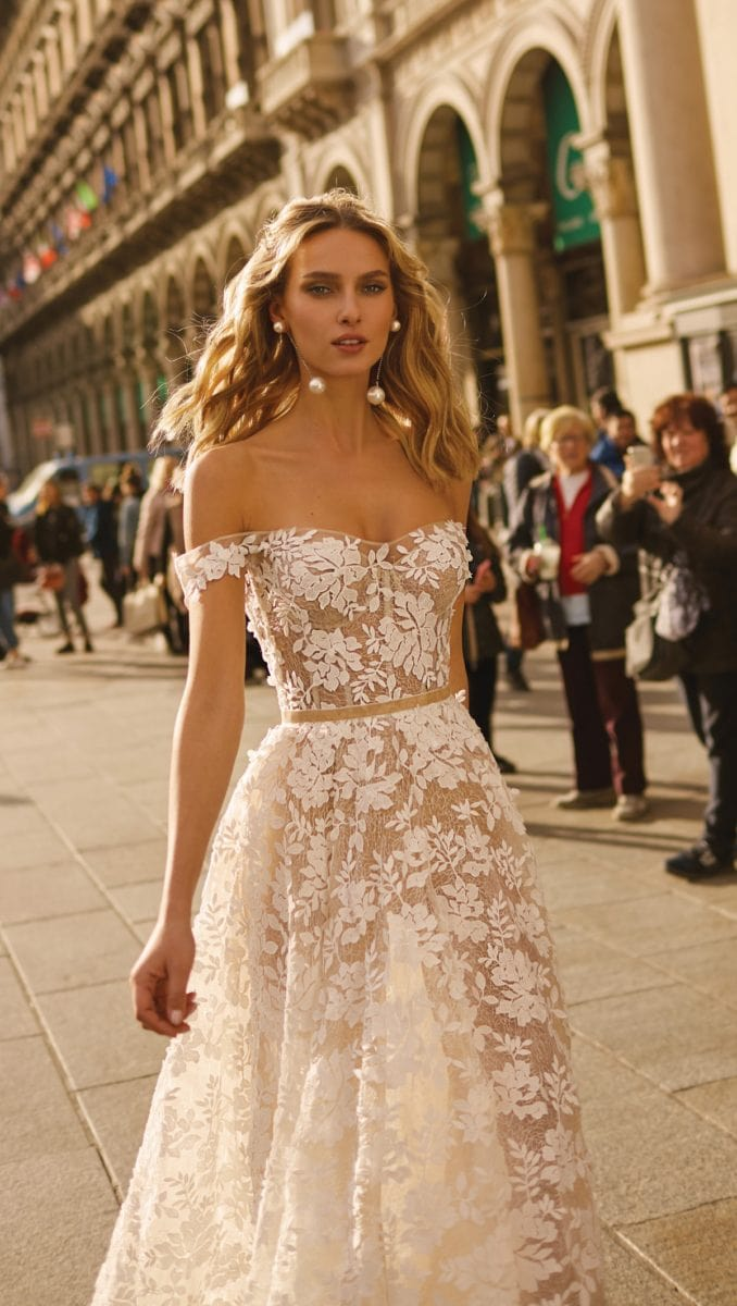 Sheer lace off the shoulder bridal gown