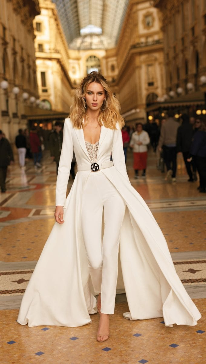 Couture bridal jumpsuit by BERTA