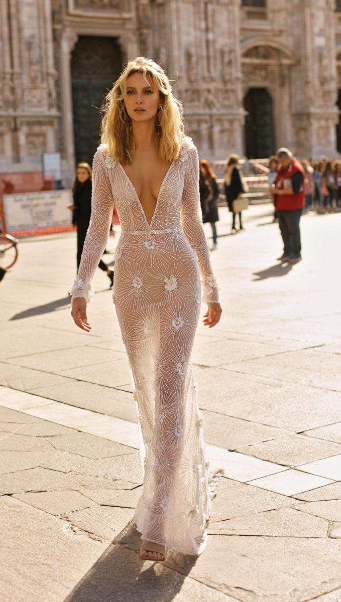 Sheer long sleeve Berta bridal gown