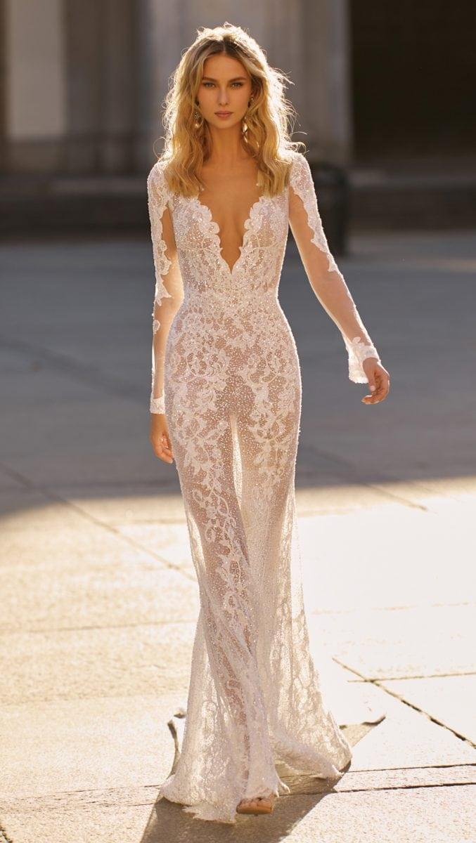 Long sleeve sheer lace Berta wedding dress 2020