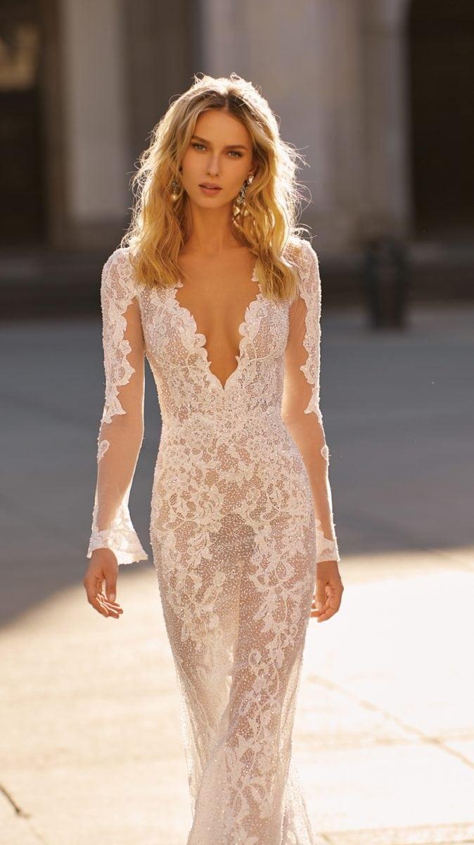 Plunge neck lace Berta wedding dress