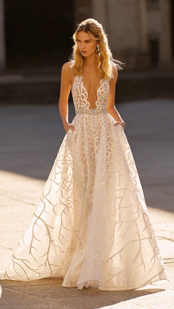 Sheer Berta Ball Gown Wedding Dress with Pockets