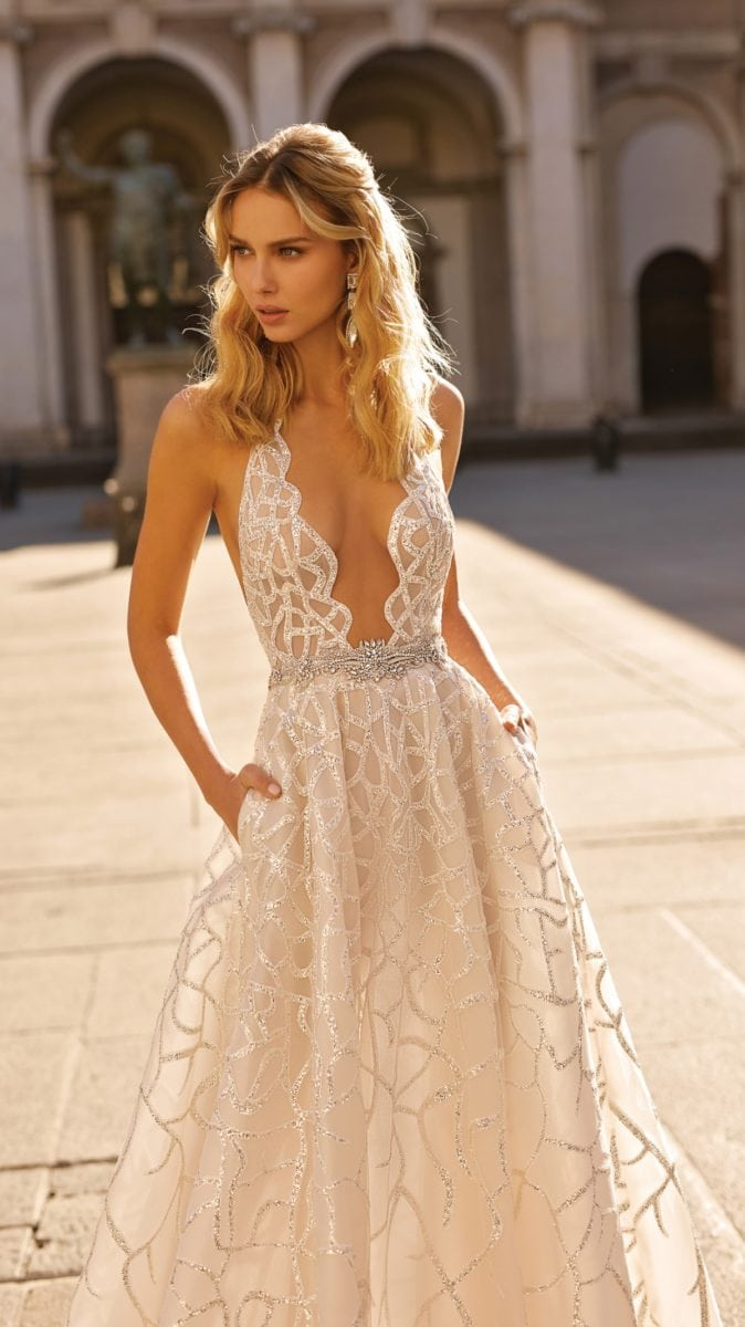 Plunge neck sheer lace Berta Bridal Gown with Pockets