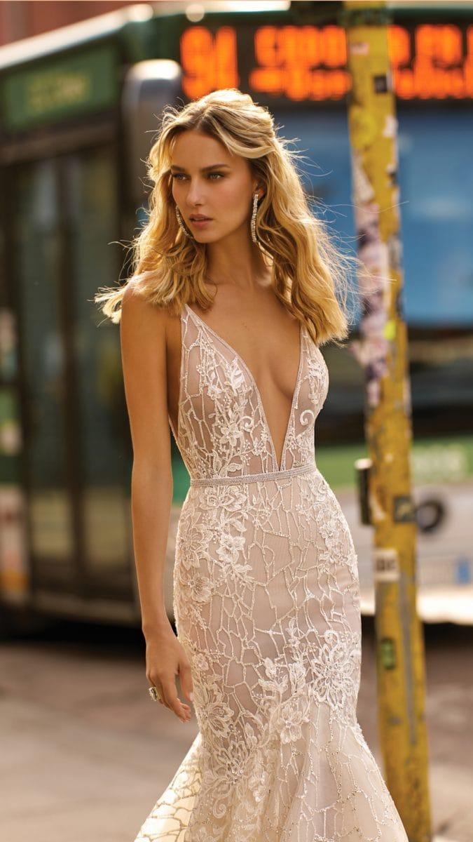 Plunge neck wedding dress 2020