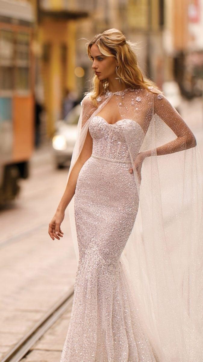 Berta wedding dress with sheer cape