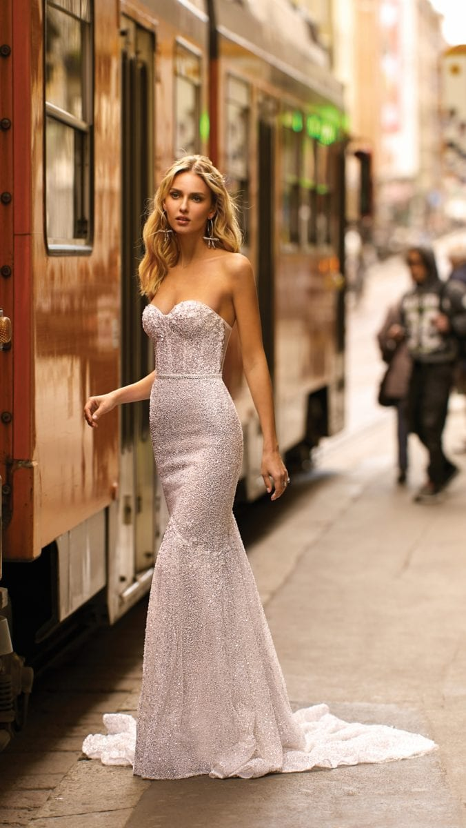 Strapless bridal gown with corset style by BERTA