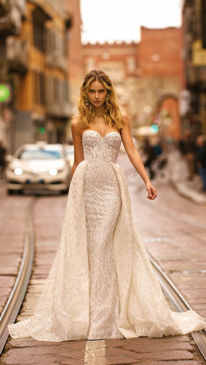 Strapless bridal gown with overskirt