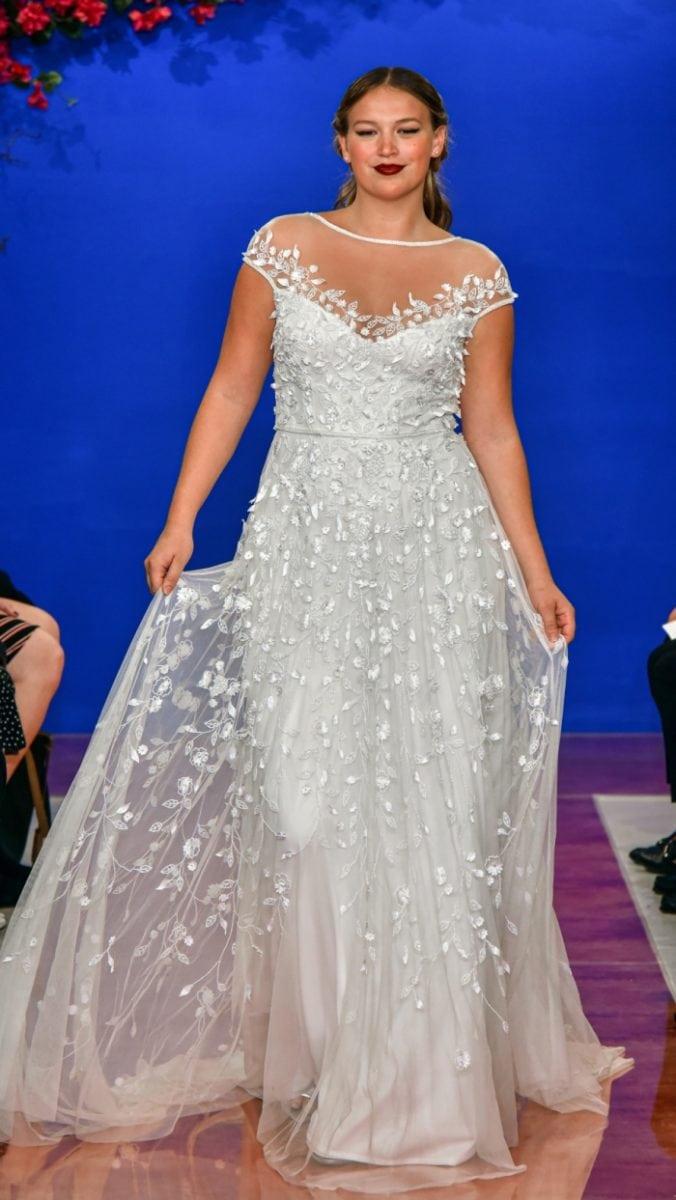 Cap Sleeve Illusion Neckline Wedding Dress