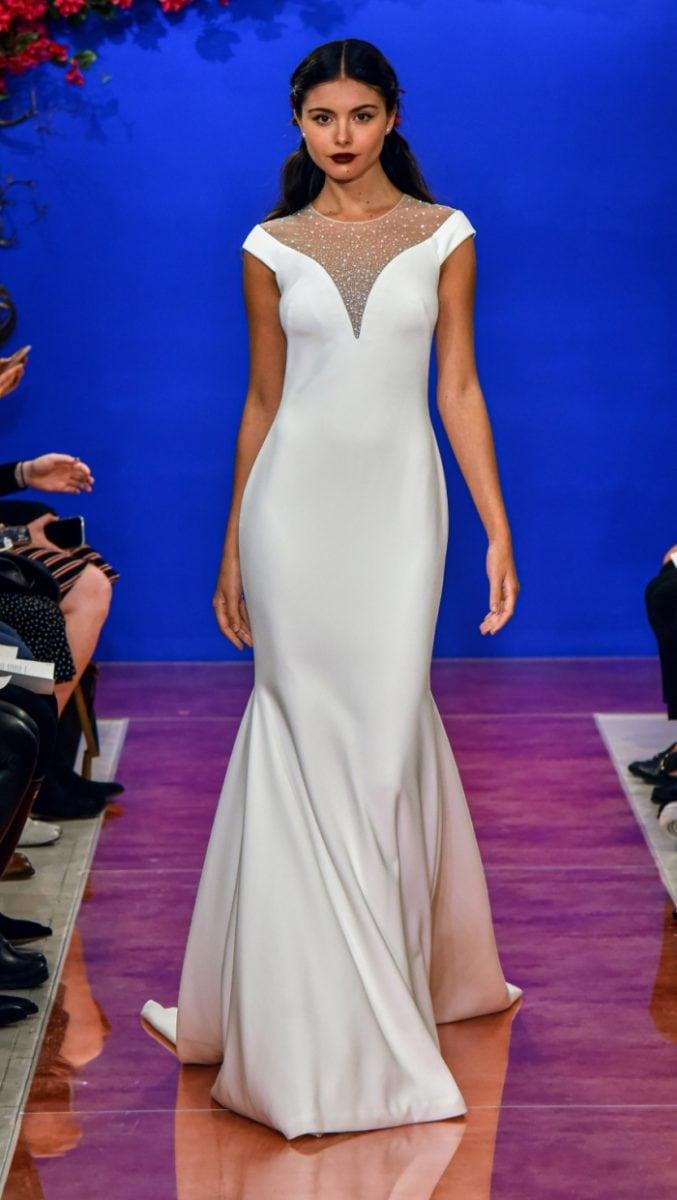 Off the shoulder illusion neckline wedding dress