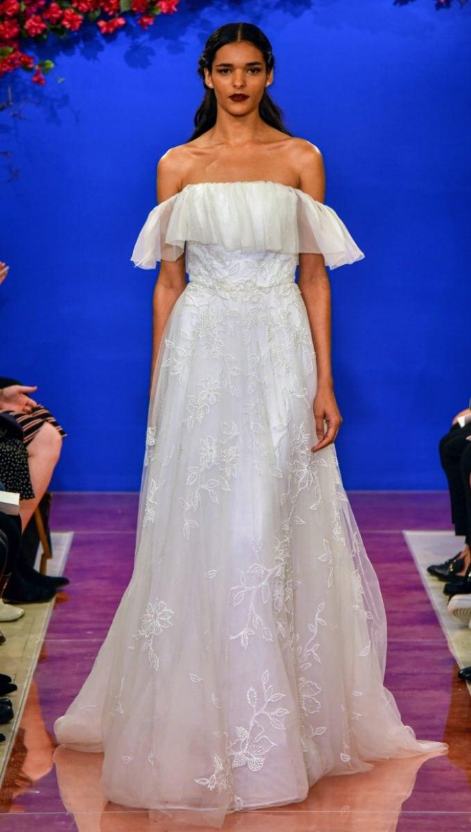 Flounce off the shoulder wedding dress