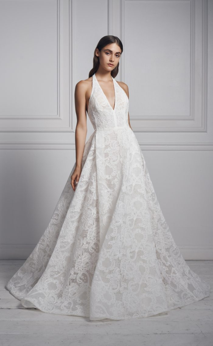 Lace halter style Anne Barge bridal gown