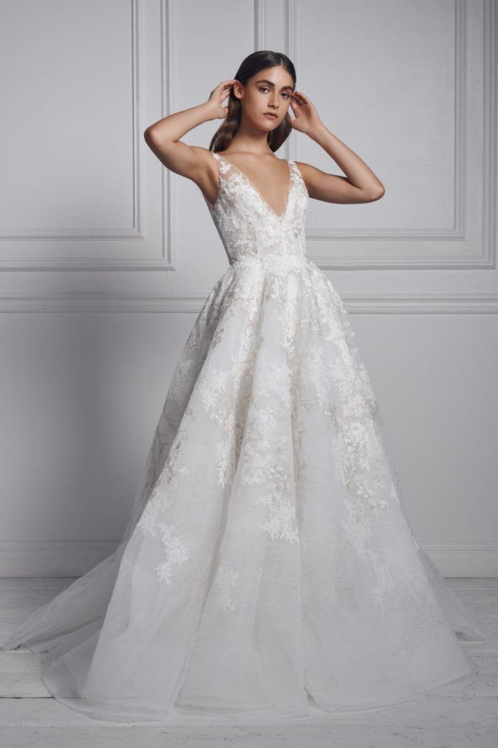 Anne Barge ballgown with v neck
