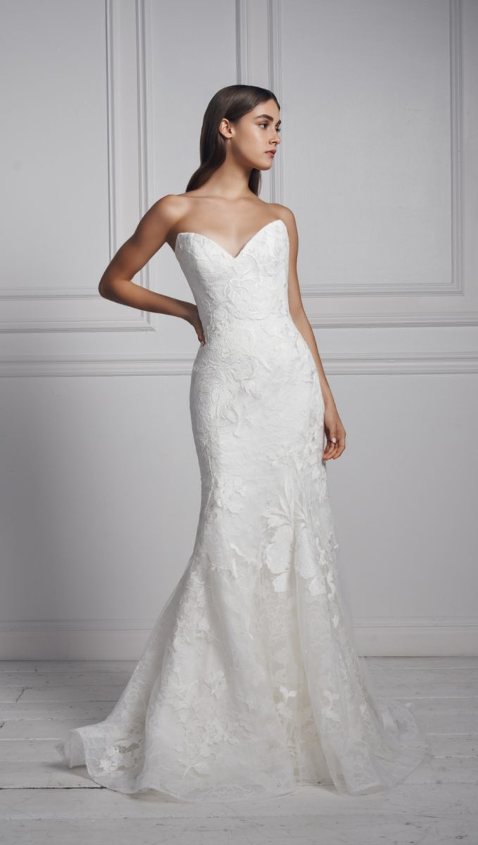 Strapless lace wedding dress | Anne Barge Fall 2020