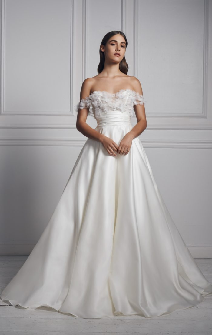 Off the shoulder ball gown wedding dress | Anne Barge Collection