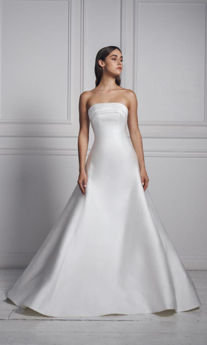 Classic strapless silk wedding gown