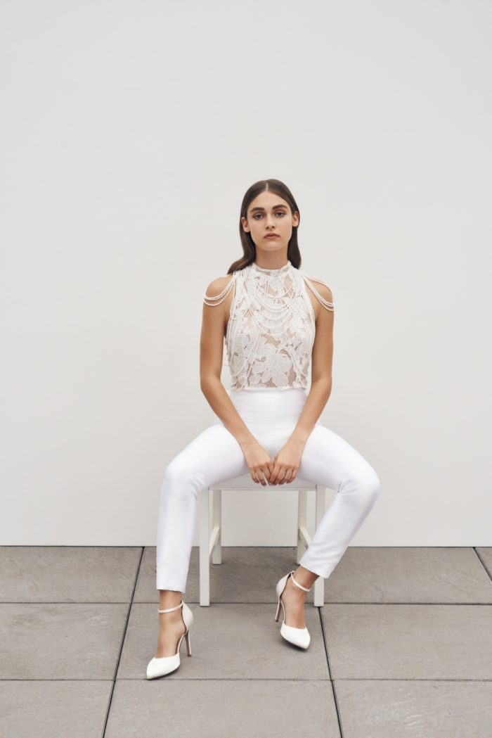 Bridal jumpsuit by Anne Barge 2020