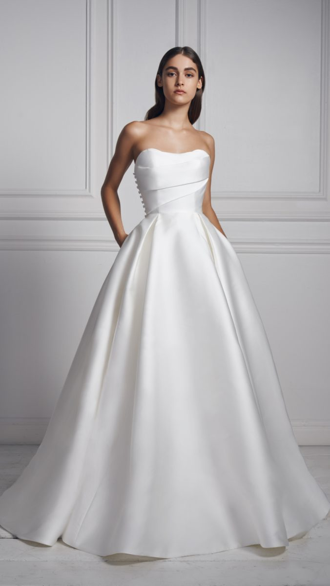 Strapless silk wedding dress by Anne Barge