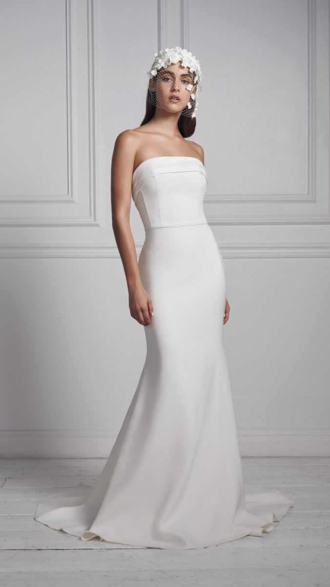 Anne Barge strapless sleek wedding dress