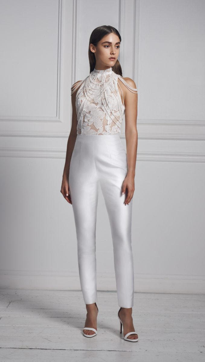 Jumpsuit from the Fall 2020 Anne Barge Bridal Collection
