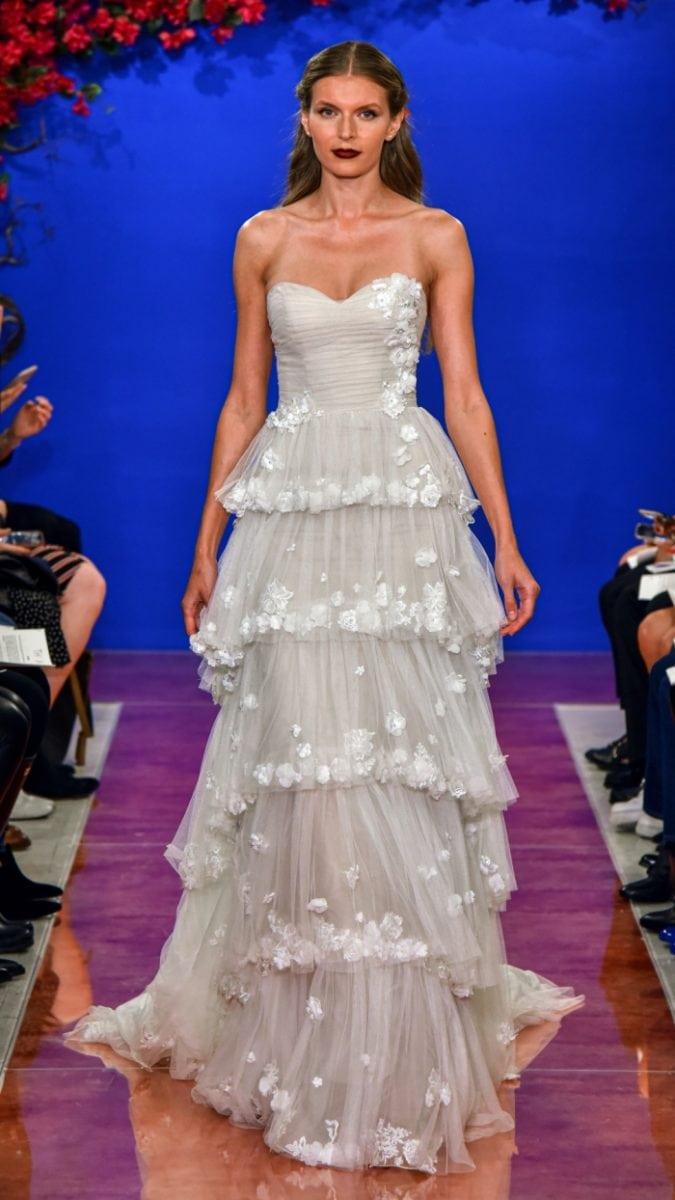 Strapless tiered wedding dress