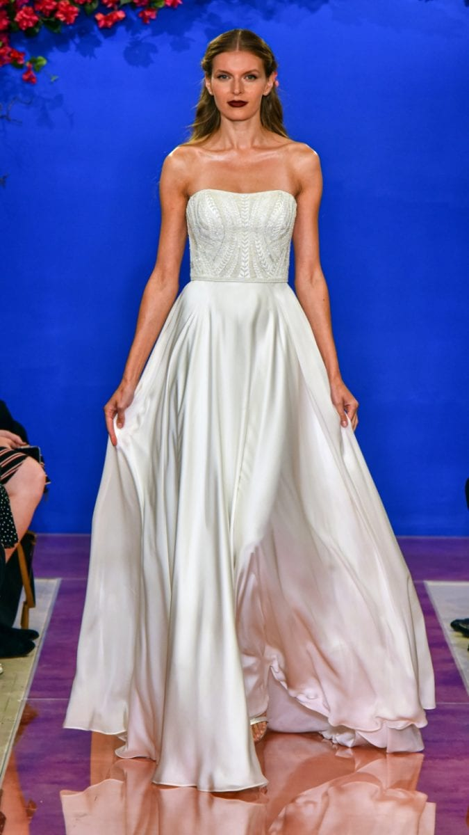 Strapless ball gown wedding dress with hand beaded crystal bodice